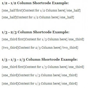 Shortcode Example-Columns